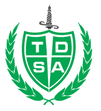 TDSA logo, Shield and sword surrounded by branches